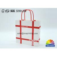 Buy cheap Personalized Recyclable White Custom Paper Shopping Bags With Red Rope Handle from wholesalers