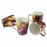 Buy cheap 12oz Ceramic Mugs with Rose Design, Suitable for Tea or Coffee from wholesalers
