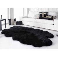 Buy cheap Smooth Surface Black Fur Throw Blanket , Black Extra Large Sheepskin Rug from wholesalers
