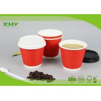 Buy cheap 8oz 90mm 300ml Disposable Corrugated Heat-Insulated Ripple Wall Paper Cups with Lids from wholesalers
