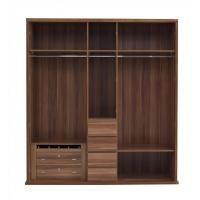 Buy cheap Luxury Aparment Bedroom Furniture by big pull out doors in wall Wardrobe in MDF melamine with walnut solid edged from wholesalers