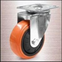 Buy cheap 100mm Heavy-duty Caster with Thread Guard, Plate Fitting and Orange PU Tread from wholesalers