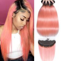 Buy cheap Pink Front Ombre Human Hair Extensions Silk 10A Grade Tangle Free from wholesalers