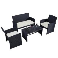 Buy cheap 4pc Rattan Sofa Furniture Set Patio Garden Lawn Cushioned Seat Black Wicker (Black) from wholesalers