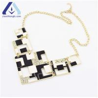 Buy cheap Fashion Black and White Contrast Color Necklace with Diamante Square Jewelry BXL526 from wholesalers