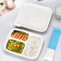 Buy cheap Three compartments starch warp up tray white color eco friendly fast food container with lid from wholesalers