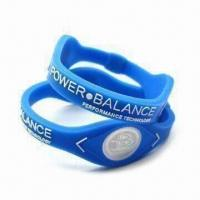 Buy cheap Silicone Bracelets with Two Visible Hologram Disks, Customized Colors and Designs are Accepted product
