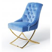 Buy cheap Golden X Cross Metal Legs Furniture Dining Room Chairs Blue Velvet Fabric Button Tufted from wholesalers