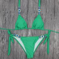 Buy cheap Wholesale and Retail 2018 Women Sexy Green Diamond Triangle Bikini Set product