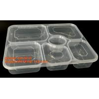 China Disposable biodegradable plastic fiffin lunch box,compartment lunch box with lid,clamshell food packaging macaron pp bli on sale