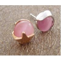 Buy cheap Custom Elegant designs 925 sterling silver stud earrings with pink opal for women from wholesalers