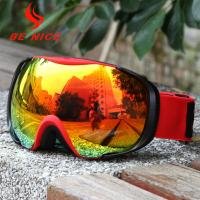Red Womens Snowboard Goggles , Otg Ski Goggles With Interchangeable Lenses