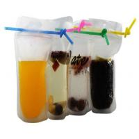 Buy cheap biodegradable eco-friendly Fruit juice liquid plastic bag with straw transparent stand up plastic zipper bag with straw from wholesalers