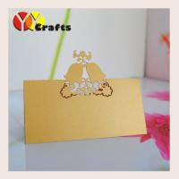 Buy cheap Gold Paper Laser Cut Wedding Place Cards Cute Love Bells , Wedding Table Place Name Cards from wholesalers