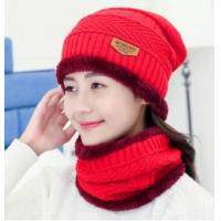 Buy cheap Winter Hat Hooded Cap Coat Set Plus Velvet Thickening Woolen Hat Korean Women's Knit Hood from wholesalers