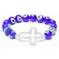 Buy cheap Alloy Cross Bracelet, Evil Eye Beads, Crystal Pave Argil Beads from wholesalers