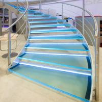 Buy cheap Hot sale tempered glass circular staircase / steel glass railing curved stair design from wholesalers
