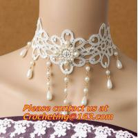 Buy cheap Wedding Classic Women White Lace beading Pearl Choker Necklace jewelry Accessories Collar from wholesalers