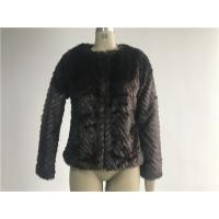 China Warm Womens Brown Faux Fur Jacket , Collarless Chubby Short Coat TWS019919 on sale