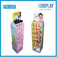 Buy cheap department store cardboard cosmetic floor display stand with plastic hooks for lipsticks from wholesalers