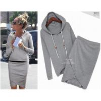 Buy cheap High Quality Cotton Sport Suit Casual Sport Set Tracksuits   (Hoodies +Irregular Skirt ) from wholesalers
