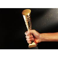 Buy cheap Gold Plated Polyresin Trophy Cylinder Shape Year - End Bonus For Enterprise Staff from wholesalers