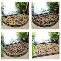 Buy cheap Half Moon Coir Doormat Natural Fiber Embroidered Pattern Thickness 12mm from wholesalers