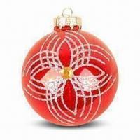 Buy cheap Christmas Glass Ball/Ornament with Inner Print in Various Colors, Measures Ø8cm from wholesalers