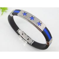 Buy cheap Blue Rubber Silicon stainless steel bangle Bracelets with Stars 1750013 from wholesalers