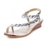 Buy cheap Sweet Rhinestone Bohemian Style Sandals Clip Toe Wedge Heel Slipper from wholesalers