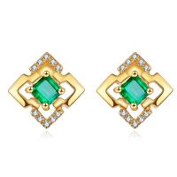 Buy cheap Square Shaped 18k Gold Jewelry Yellow Gold Emerald Stud Earrings With Diamond Accents from wholesalers