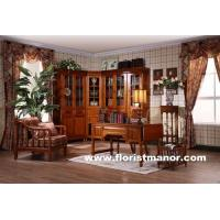 Buy cheap Full solid wood home office furniture corner bookcase set classical home office desk chair bookshelf from wholesalers