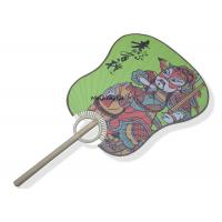 Buy cheap Palm Leaf Hand Held Paper Fans Chinese Tradition Guan Gong Pattern Eco - Friendly product