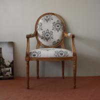Amazing photo of  wooden frame linen fabric cover hand carved antique wooden arm chairs with #8D623E color and 1878x1878 pixels