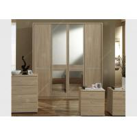 Buy cheap Oak Wood Veneer Hotel Room Wardrobe Four Doors Large Size High Grade With Mirrors from wholesalers