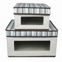 Buy cheap Collapsible storage boxes, made of canvas and cardboard from wholesalers