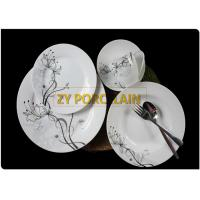 Buy cheap Decal And Metal Colored 20 Piece Flat Round Dinnerware Sets Porcelain Material Non - toxic from wholesalers