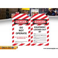 Buy cheap Osha Danger PVC Lock Out Tags With English Language Red / White Color from wholesalers