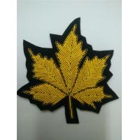Buy cheap Leaf Applique Hand Embroidered Metal Thread Cannabis Bullion Patches from wholesalers
