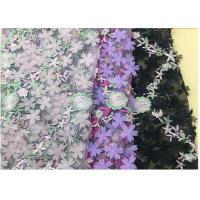 Buy cheap 3D Flower Embroidered Stretch Mesh Fabric , Coloured Tulle Lace Fabric from wholesalers