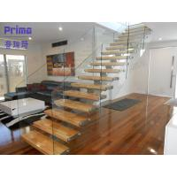 Buy cheap Modern Design Wood Tread Glass Railing Straight Staircase Home Using from wholesalers