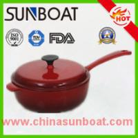 Buy cheap hot sale red color cast iron cookware enamel soup pot with handle from wholesalers
