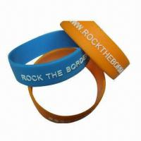Buy cheap Silicone bracelets/wristbands, various colors are available from wholesalers