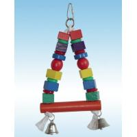 Buy cheap wooden bird toy bird swing made with colorful wooden pieces and bells from wholesalers