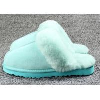 Buy cheap Anti Slip Ladies Sheepskin Mule Slippers , Ladies Wool Lined Slippers With Soft Leather Sole from wholesalers
