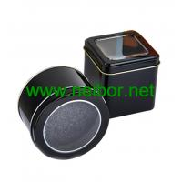 Buy cheap Black color square metal tin watch case watch display box with window and foam 75x75x75mm from wholesalers