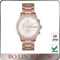 Buy cheap Pink Dial Shine Diamond Ladies Stainless Steel Watch Chronograph Circles from wholesalers