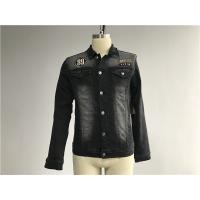 Buy cheap Black Washed Badge Mens Denim Jacket And Jeans Button Through Trucker Jacket TW76375 from wholesalers