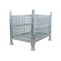 Buy cheap Collapsible Rigid Steel Metal Pallet Box Stackable Wire Mesh Storage Cage from wholesalers