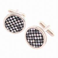 Buy cheap Cufflinks, Rose Gold, Black/White Enamel Lattice Round Cuff Links for Christmas from wholesalers
